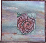 Ice rose photo of rose printed on  hand painted fabric