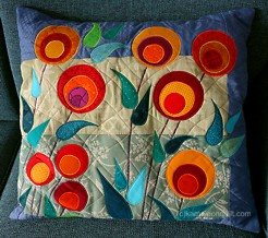 pillows with stylized flowers