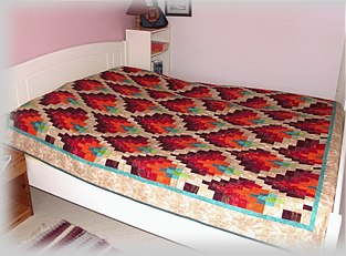 Bargello Dancing Flames bed quilt