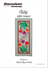 Tulip table runner in patchwork and applique